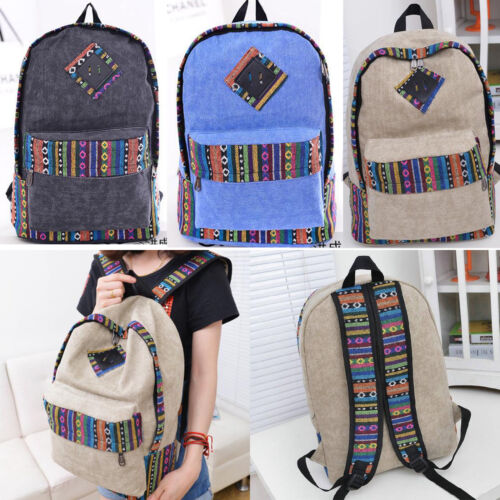 New Hot Unisex Canvas Schoolbags College Backpack Travel Camp Rucksack Book Bags