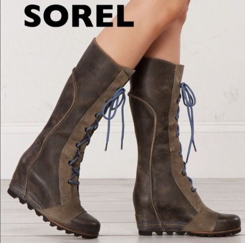 SOREL Cate the Great Wedge Lace Up Leather Suede L