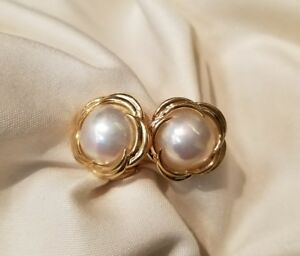 Image Is Loading 14k Yellow Gold Non Pierced Mabe Pearl Earrings