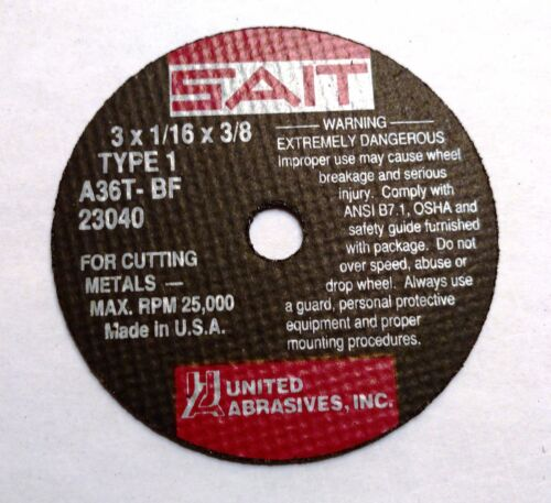 SAIT 23040  Cut-off Wheel 3 x 1//16 x 3//8In AH Type 1 A36T-BF UNITED ABRASIVES