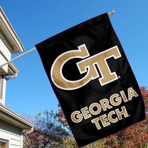 "Georgia Tech Yellow Jackets Black 28/"" x 40/"" Double Sided House Flag"