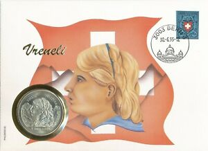 Numisbrief-Numiscover-Vreneli-erstmals-auf-5-ECU-Muenze-1995-Philswiss