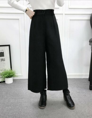 Women/'s High Waist Loose Pants Winter Fashion Wide Leg Casual Cropped Trousers
