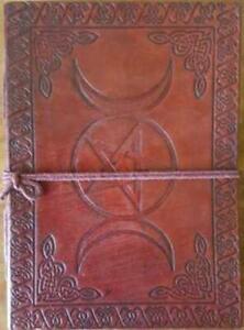 "5"" x 7"" Triple Moon Pentagram Celtic Knotwork Leather blank book w/cord Journal"