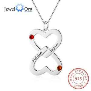 2e74584d8c Image is loading Personalised-Double-Heart-Style-Pendant-Name-Necklace- Sterling-