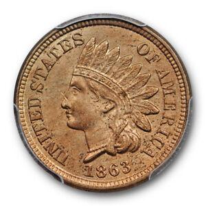 1863-1C-Indian-Head-Cent-PCGS-MS-63-Uncirculated-Copper-Nickel-Cert-7794