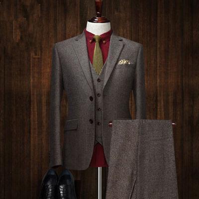 Herren Männer Kohle Asche Tweed 3Pcs passt Wollmischung Hochzeitsfeier Anzüge
