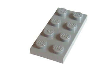 Lego-50-Stueck-Platten-in-hellgrau-light-bluish-gray-2x4-3020-Neu-Platte-City
