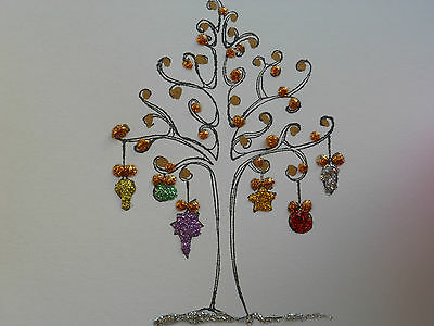 1 Handmade Bauble Tree Glitter  Christmas Card  matching Christmas gift tags