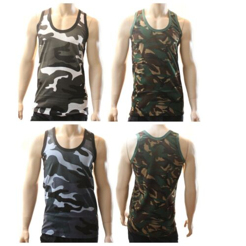 Mens Army Camo Combat Muscle Gym Tank Top Sleeveless Singlenet 100% Cotton Vest