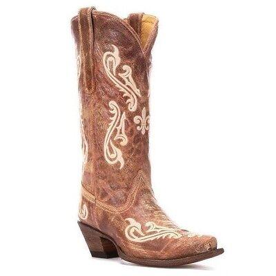 Corral Ladies Tan Brown Cortez/Cream Fleur de Lis Boot R1974