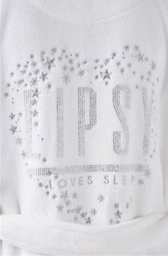 LIPSY LADIES WHITE DIAMANTÉ /'LOVES SLEEP/' SUPERSOFT ROBE DRESSING GOWN UK 8-14