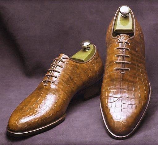 Zapatos De Cuero hombres, S Zapatos de cuero hechos a mano, Textura Cocodrilo Formal De Hombre Marrón