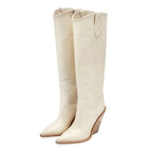 Women-Leather-Boots-Western-Embossed-Microfiber-High-Heels-Chunky-Cowboys-Shoes