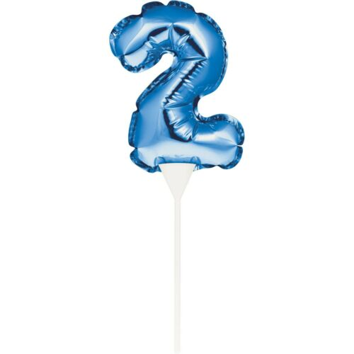 """9/"""" Blue 2 Self-Inflating Balloon Cake Topper Boys 2nd Birthday Party Decoration"""