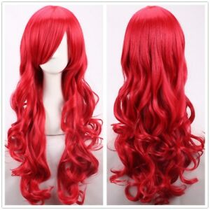 Glamour Women Girls Long Wavy Curly Red Heat Resistant Hair Wig +a wig Cap