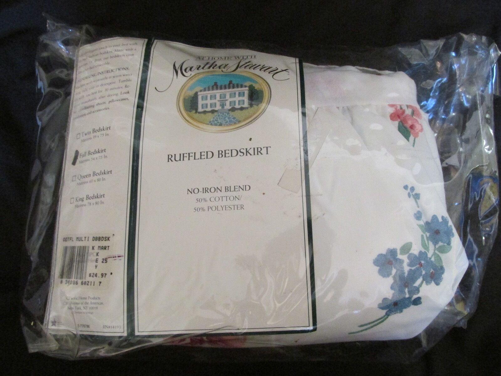 Brandneu Vintage Martha Stewart Voll Größe Zerzaust Bedskirt Cottage Flowers