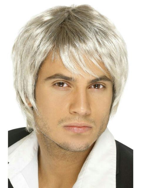 Mens Cosplay Brown Black Blonde Boy Band Pop Star Short Wig Fancy Dress Costume