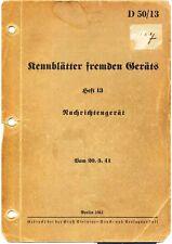 Kennblätter fremden Gerätes -Nachrichtengerät Vorschrift der Wehrmacht 1941  D50
