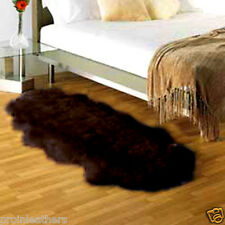 DOUBLE Pelt GENUINE SHEEPSKIN RUG sheep skin Fur on- BLACK IVORY natural hair u8