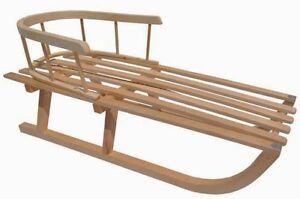 Holzschlitten Schlitten Holzrodel mit Rückenlehne aus Holz B-Ware