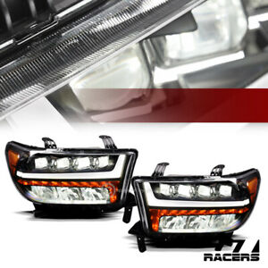For 07-13 Tundra/Sequoia Blk Full LED Sequential Tube Quad Projector Headlights