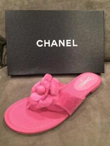 a1585a76dc4 CHANEL 16C Suede Camellia Flower Flat Thong Slides Sandals Shoes ...