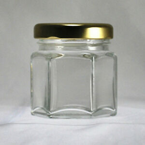 Hexagonal-Glass-Jars-1-1-2-oz-45-ml-with-Gold-Colored-Lids-Lot-of-24