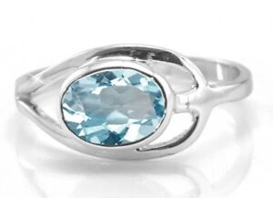 925-Sterling-Silver-Blue-Topaz-Ring-Oval-Solitaire-East-West-Leaf-Size-4-11