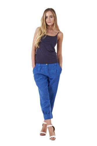 Ladies Cropped Linen Capri Women Summer Plain Pockets 3//4 Pants Trousers