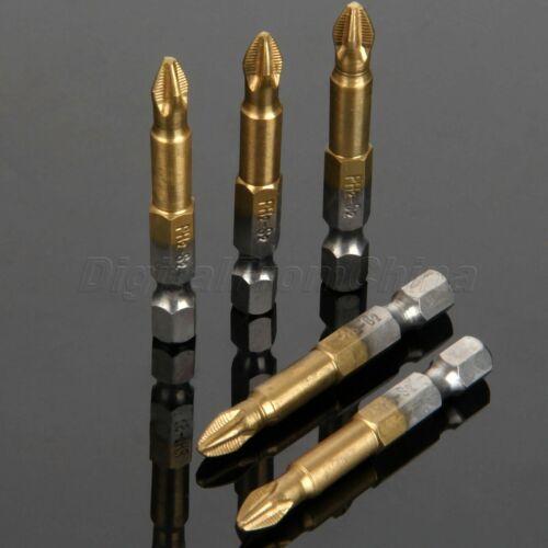 5pcs 50 mm Long Magnétique Phillips Tête Croix hex acier S2 embouts de Tournevis Set