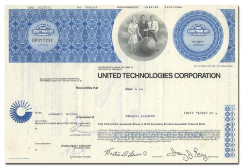 United Technologies Corporation Stock Certificate