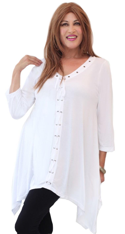 Weiß top blouse 3 4 sleeve lagenlook jersey OS M L XL 1X 2X O806
