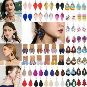 Boho-Women-Lady-Leaf-Teardrop-Leather-Earrings-Ear-Stud-Hook-Drop-Dangle-Jewelry