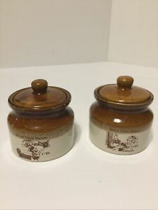 (2) Vintage 1985 Swiss Colony Pottery Condiment Jars Marked Merry Chris Mouse