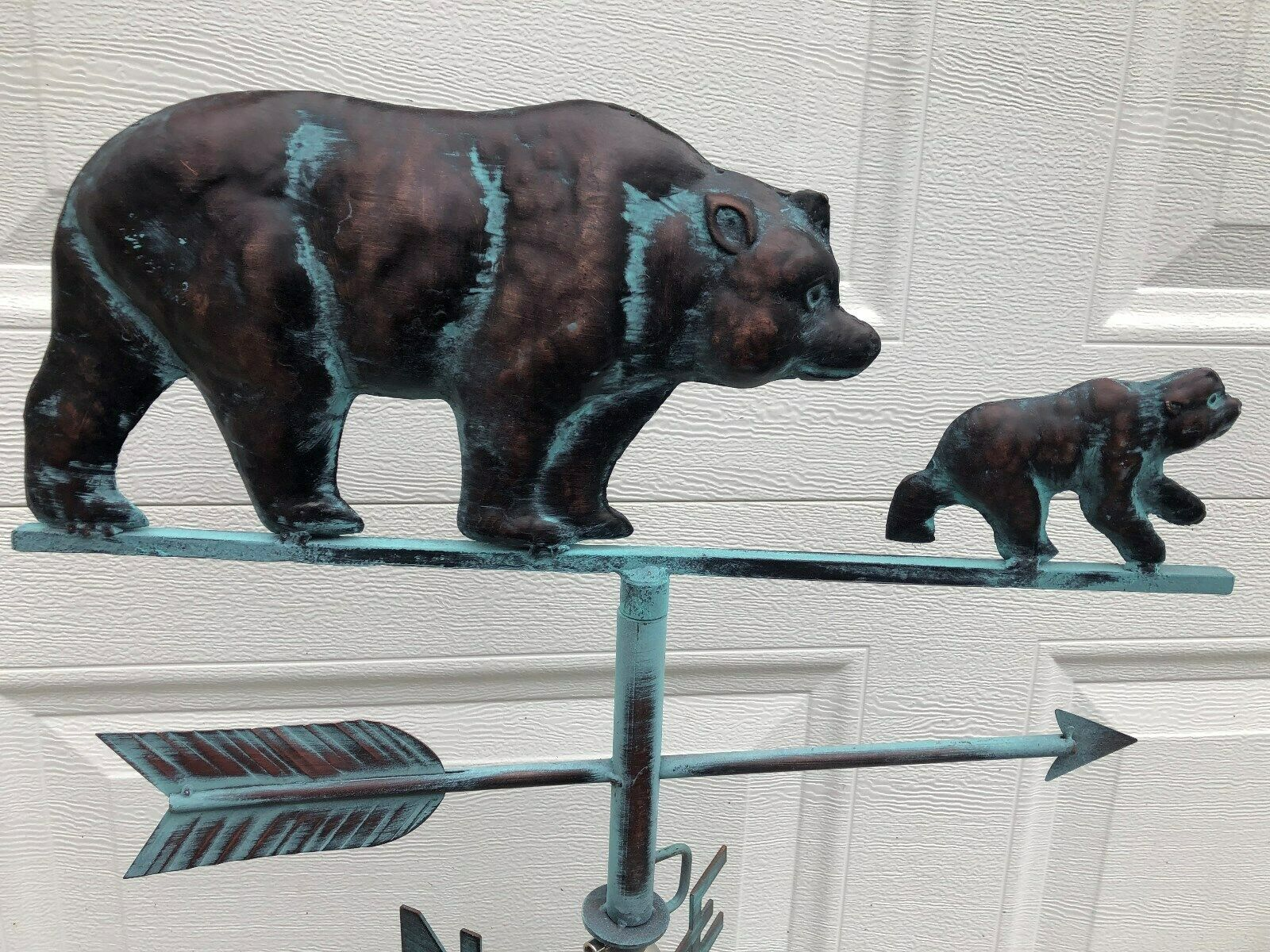 Bear & Cub Weathervane Antique Copper Finish Weather Vane Hand Crafted