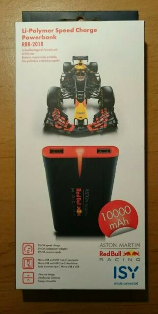 ISY RBR-2018, Powerbank, 10000 mAh, Schwarz / Rot Aston Martin Red Bull Formel 1