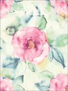 Wallpaper Designer Large Watercolor Floral Pink Teal Green Orange Yellow