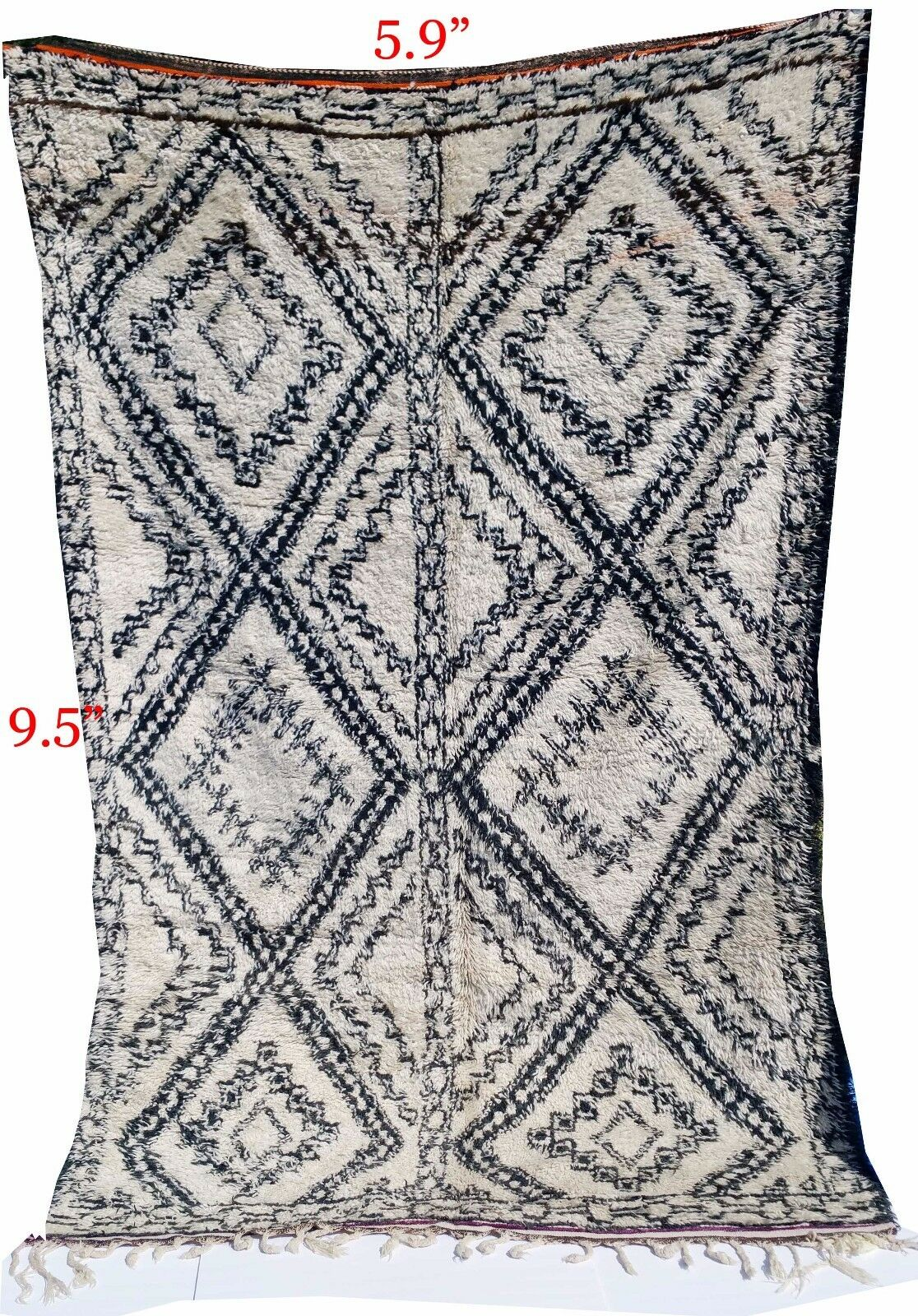 MGoldccan authentic Beni Beni Beni ourain knotted carpet Rug 100% Handmade 9.5ft x5.9ft 3e0773