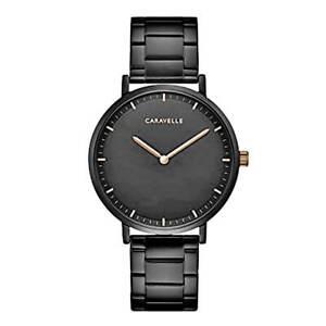 Caravelle-Men-039-s-Watch-Quartz-Black-Dial-Stainless-Steel-Bracelet-45A145