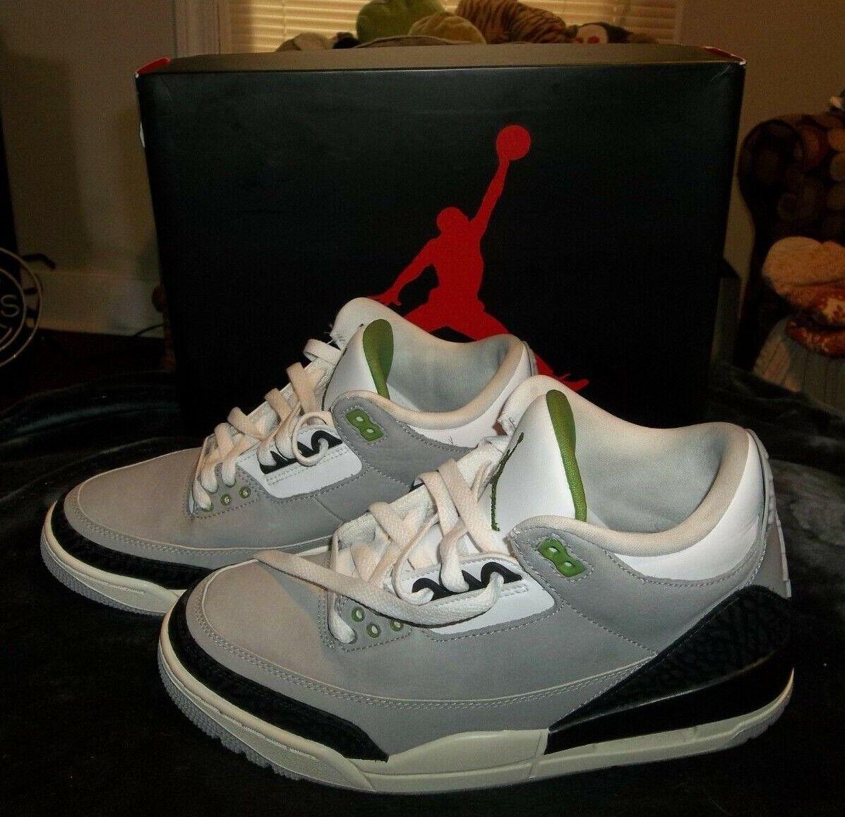 d049ef17b8779d NIKE AIR JORDAN 3 Retro Chlgoldphyll Tinker Smoke 136064-006 Men s 8 Grey  size nmroux1322-Athletic Shoes