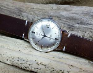 USATO-anni-1960-OMEGA-DE-VILLE-Quadrante-Argento-Data-Manuale-Vento-Man-039-s-Watch