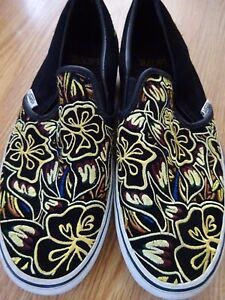 e5b6d6ab69 Image is loading VANS-Hawaiian-Yellow-Embroidered-Black-Suede-Leather-Shoes-