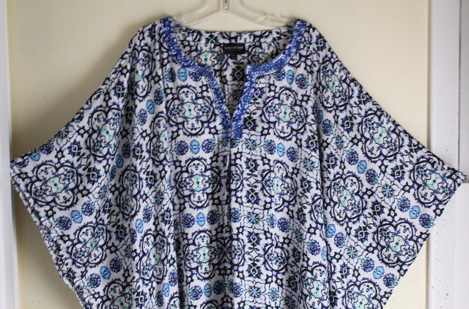 Lane Bryant Rich 3X 2X 26 Flowing Art-to-Wear Blau Long Tunic Poncho Kaftan Top