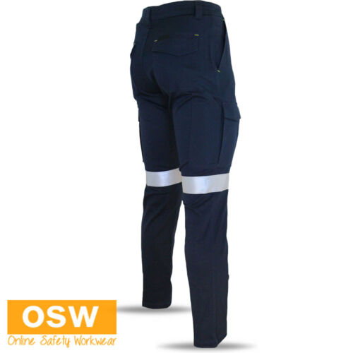 MENS NAVY COTTON STRETCH SLIM FIT SLIMFLEX COMFORT REFLECTIVE NIGHT WORK PANTS