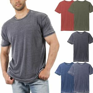 Mens-Vintage-T-Shirts-Washed-Burnout-Fade-Short-Sleeve-Basic-Crew-Neck-Tee