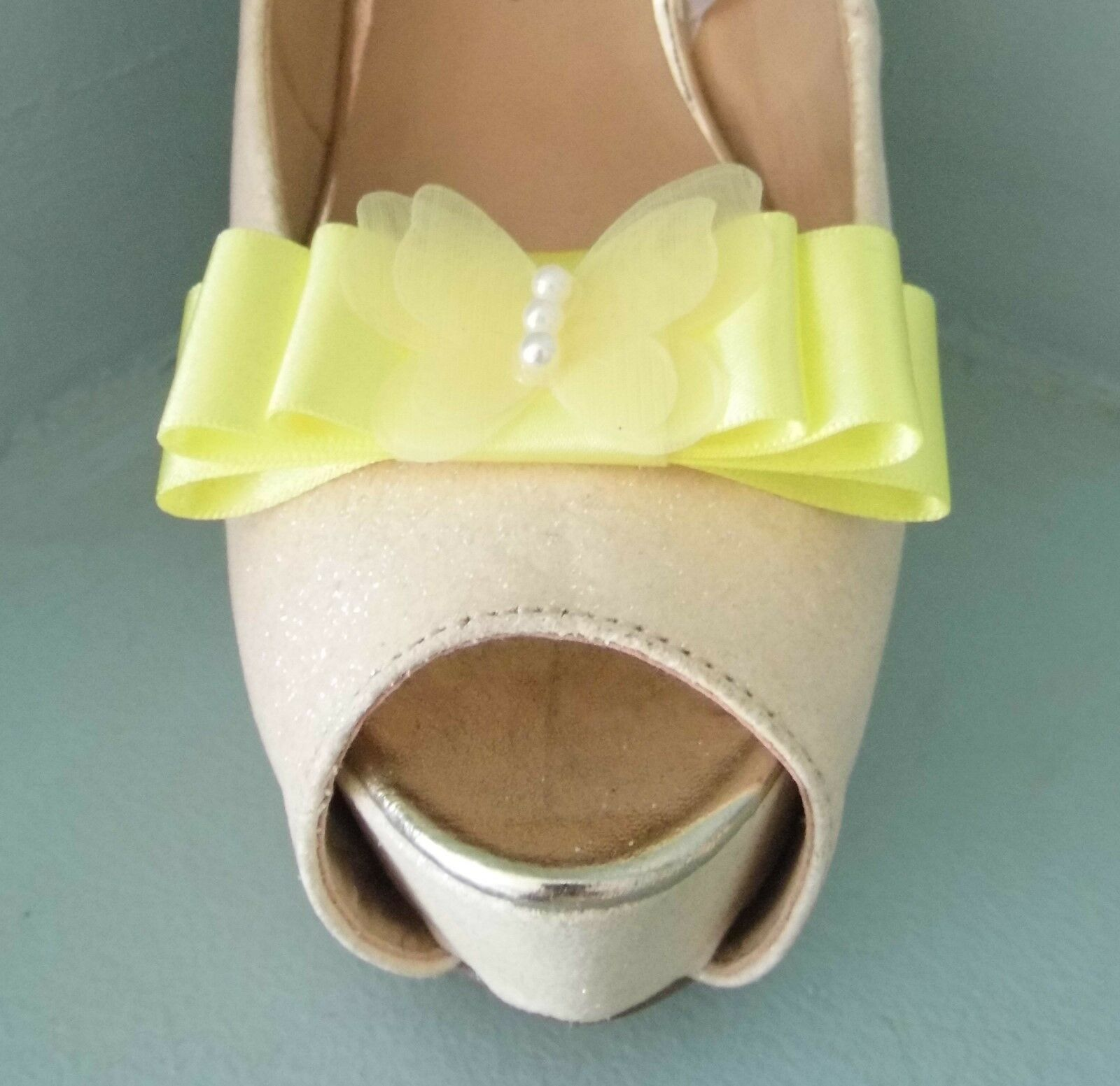 2 Lemon Bow Clips for Shoes with Delicate Butterfly Centre
