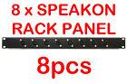 "8x 1U Black Plate Panel 19"" 8 x Speakon Road Case Server Rack Space Mount 1RU"