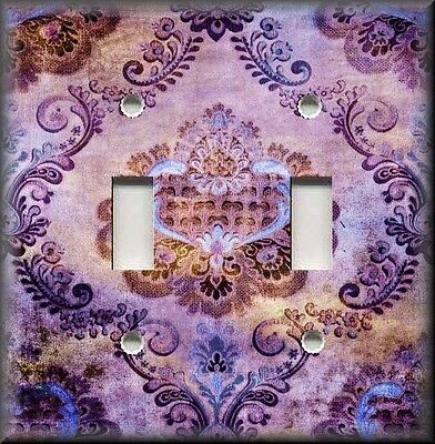 Metal Light Switch Plate Cover - Boho Gypsy Damask Decor Vintage Purple Decor