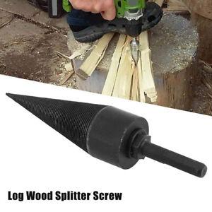 UK Log Wood Splitter Screw Cone Firewood Electric Hammer Saw Drill Bit Tool